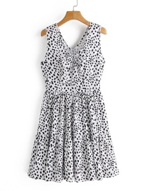 Fashion White Contrast Polka-dot Bow Dress