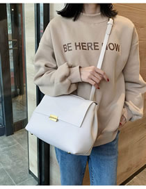 Fashion Creamy-white Flap Lock Solid Color Shoulder Bag
