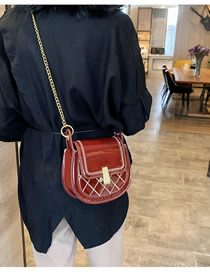 Fashion Red Wine Patent Leather Diamond-stitched Chain Shoulder Bag