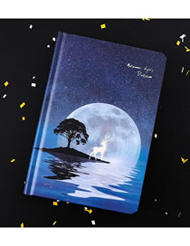 Fashion Full Moon Fawn Starry Night Luminous Fawn Coloring Page Hand-painted Notebook