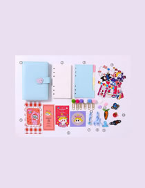 Fashion Ordinary Suit Blue Checkered Loose-leaf Notebook Stickers Sticky Note Set