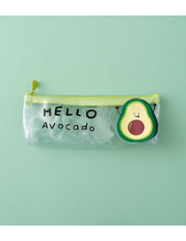 Fashion Hello Avocado Avocado Alphabet Transparent Pencil Case