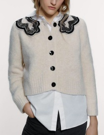 Fashion Creamy-white Mohair Collar Single Breasted Coat