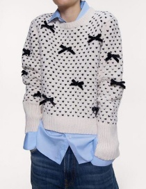 Fashion Creamy-white Bow-necked Round Neck Sweater