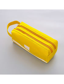 Fashion Yellow Large Capacity Pencil Case With Stitching Letters