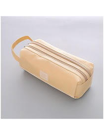 Fashion Beige Large Capacity Pencil Case With Stitching Letters