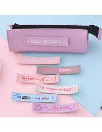 Fashion Girl's Heart Series-purple (boxed) Velcro Chinese Character Contrast Stationery Bag