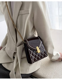 Fashion Brown Chain Rhombus Embroidered Patent Leather Shoulder Bag