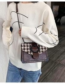 Fashion Coffee Houndstooth Houndstooth Chain Contrast Shoulder Bag