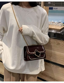 Fashion Red Wine Patent Leather Sequin Chain Shoulder Crossbody Bag