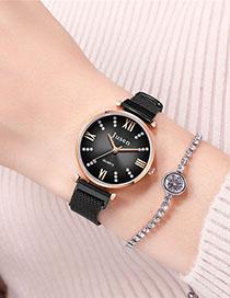 Fashion Black Quartz Watch With Diamonds And Magnets