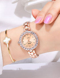 Fashion Rose Gold With White Surface Diamond Bracelet Watch With Diamonds