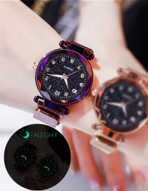Fashion Purple Watch Starry Luminous Magnetite Milan Quartz Watch