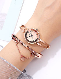 Fashion Rose Gold With Rose Gold Face Water-cut Bright Bracelet Hollow Quartz Watch