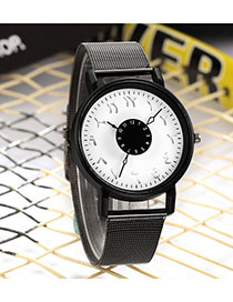 Fashion Black With White Noodles Mars Dial Dial Dial Alloy Men And Women Mesh Belt Watch