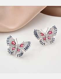 Fashion Silver S925 Sterling Silver Pin Butterfly Micro Inlaid Zircon Earrings