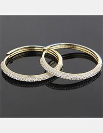 Fashion Gold-plated White Zirconium Copper Plating Three Rows Of Zirconium Arc Edge Round Earrings