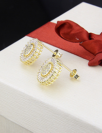 Fashion Golden Copper Plating Zirconium Round Earrings