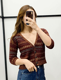 Fashion Brown Buttoned Sweater Cardigan With Faux Stones