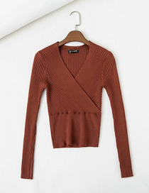 Fashion Caramel Colour Cross V-neck Patchwork Sweater Knit