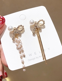 Fashion Golden 925 Silver Pin Rhinestone Bow With Pearl Fringed Earrings