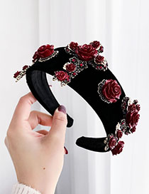 Fashion Black Alloy Resin Flower Cross Velvet Headband