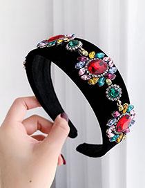 Fashion Black Alloy Diamond Velvet Headband