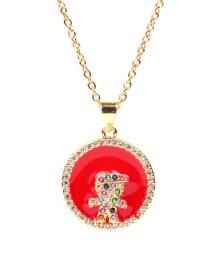 Fashion Red Dripping Round Boy Boys Stainless Steel Necklace