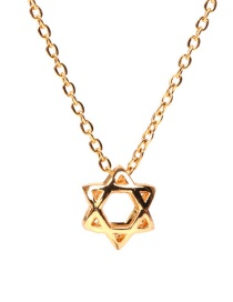 Fashion Golden Hollow Six-pointed Star Stainless Steel Necklace