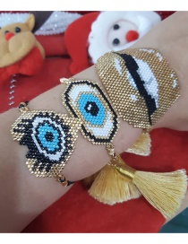 Fashion Suit Golden Rice Beads Woven Lips 4mm Gold Beads Love Eyes Bracelet