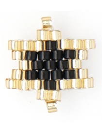 Fashion Gold + Black Rice Beads Woven Big Five-pointed Star Pattern Accessory