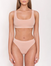 Fashion Sky Blue Knotted Strap Hollow Split Swimsuit
