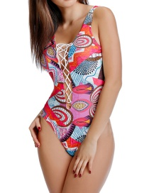 Fashion Color Printed Deep V-neck One-piece Swimsuit