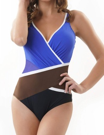 Fashion Royal Blue Contrast Stitching Pleated One-piece