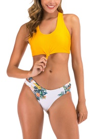 Fashion Yellow Reversible Knotted Printed Split Swimsuit