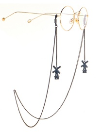 Fashion Black Halter Windmill Glasses Chain
