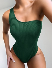 Fashion Green One Shoulder One Piece Swimsuit