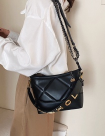 Fashion Black Embroidered Diamond Chain Shoulder Bag