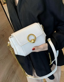 Fashion White Metal Ring Buckle Embroidered Cross-body Shoulder Bag