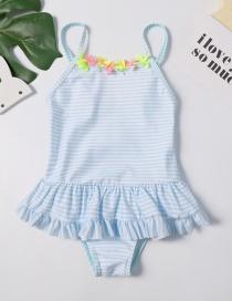 Fashion Blue Striped Ruffled Children's Swimwear
