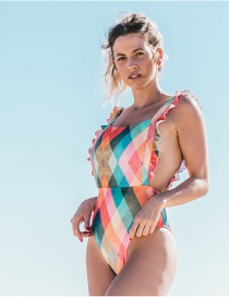 Fashion Color Diamond Striped Printed One-piece Swimsuit