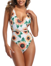 Fashion White Sun Flower Print One-piece Swimsuit