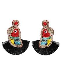 Fashion Color Circle Mizuel Line Tassel Earrings