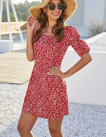 Fashion Red Floral Print Lantern Sleeve Square Collar Dress