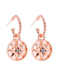 Fashion Rose Gold Octagon Star Shell Stud Earrings