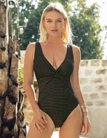 Fashion Black Metallic Cross-pleated One-piece Swimsuit