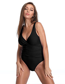 Fashion Black Two-shoulder Open-back Pleated One-piece Swimsuit