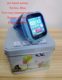 Fashion 501 Touch Screen (iron Box Packaging) Blue Waterproof Positioning 1.44 Inch Key Touch Screen Smart Children Phone Watch
