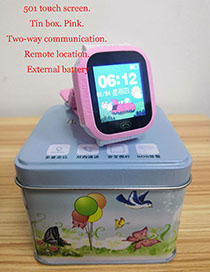 Fashion 501 Touch Screen (iron Box Packaging) Pink Waterproof Positioning 1.44 Inch Key Touch Screen Smart Children Phone Watch