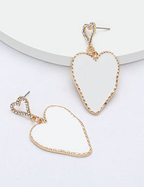 Fashion White Multilayer Love-shaped Alloy Earrings With Diamonds And Oil Drop